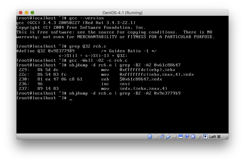 Output of compiling rc6.c on CentOS
